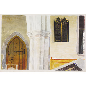 Watercolour - Interior of the Church of St. Mary the Virgin, Lindsell; Recording Britain Collection; Interior of Parish Church, Lindsell