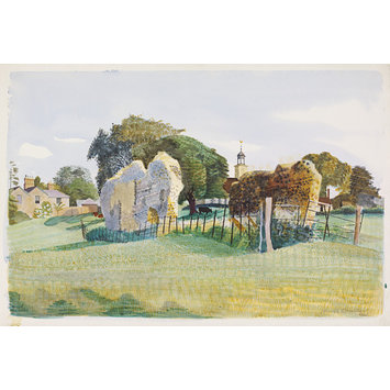 Watercolour - View of the Ruins of the Cloister, the Belfry of St. Mary's Church, and the Vicarage, Tilty; Recording Britain Collection