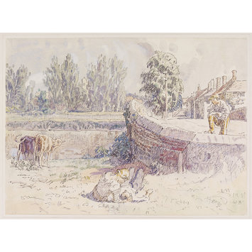 Watercolour - Bridge over the Blackwater at Coggeshall; Recording Britain Collection