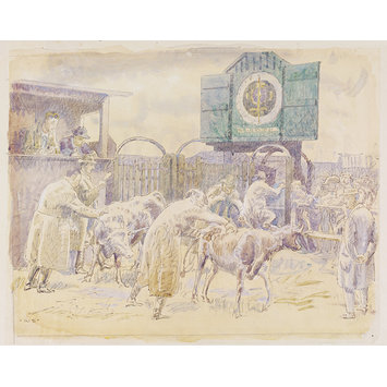 Watercolour - The Cattle Market, Braintree; Recording Britain Collection