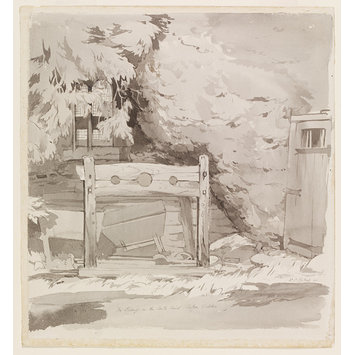 Watercolour - The Pillory in the Castle Ruins, Saffron Walden; Recording Britain Collection