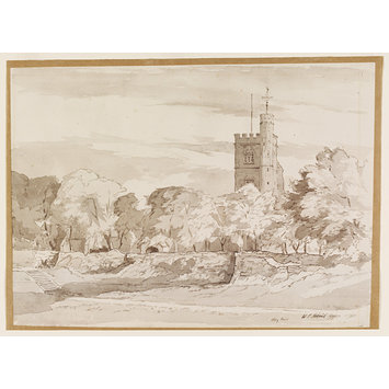 Watercolour - The Church of St Margaret and the Abbey Ruins, Barking; Recording Britain Collection