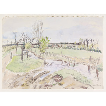 Watercolour - River Brain, Witham; Recording Britain Collection