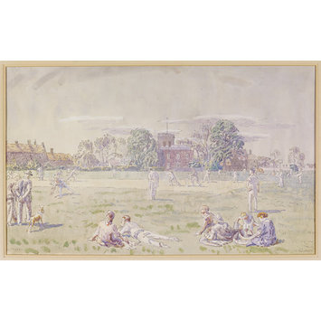 Watercolour - The Cricket Green, Great Bentley; Recording Britain Collection