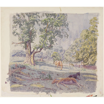 Watercolour - Colts on Lexden Hill; Recording Britain Collection