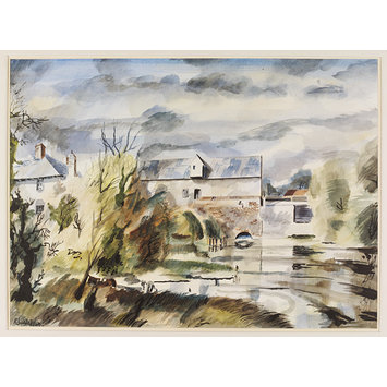 Watercolour - Henning Mill on the Stour; Recording Britain Collection