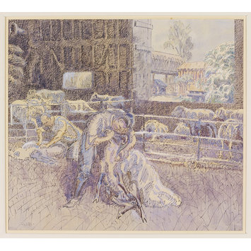 Watercolour - Sheep Shearing at Garrett's Farm, Bocking; Recording Britain Collection