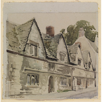 Watercolour - Old Houses, Stroud; Recording Britain