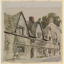 Old Houses, Stroud; Recording Britain (Watercolour)