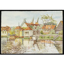 Gazebos on the River Lea, Ware; Recording Britain (Watercolour)