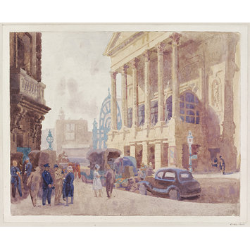 Watercolour - Covent Garden Opera House; The Colonnade; Recording Britain