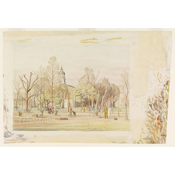 Watercolour - Holy Trinity Church and the new Allotments, Clapham Common, London; Recording Britain
