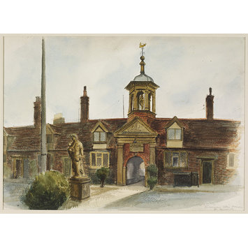 Watercolour - Fishermen's Almshouses, Great Yarmouth; Recording Britain
