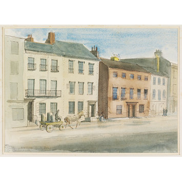 Watercolour - 18th Century Houses, South Quay, Great Yarmouth; Recording Britain