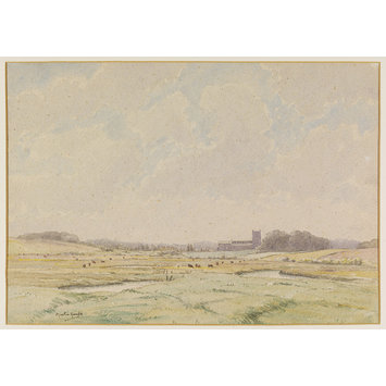 Watercolour - Wiverton Church, from Clay; Recording Britain