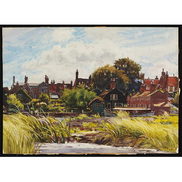 Watercolour - Riverside, Beccles; Recording Britain