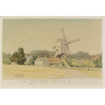 Watercolour - Laxfield Mill; Recording Britain