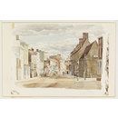 Towcester High Street from the Pomfret Arms Corner, Northamptonshire; Recording Britain (Watercolour)