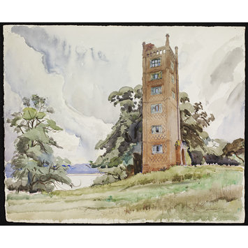 Watercolour - Freston Tower; Recording Britain