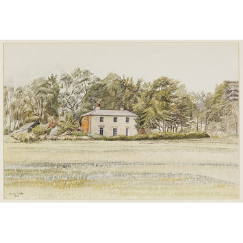 Watercolour - The Firs (Farmhouse) near Sudbourne; Recording Britain