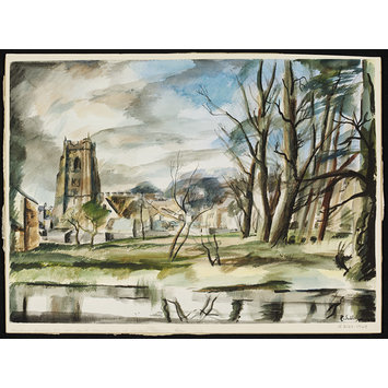 Watercolour - All Saints Church, from the Meadows, Sudbury; Recording Britain