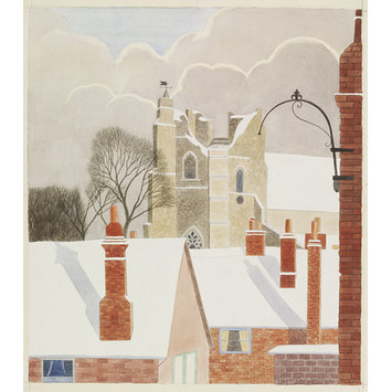 Watercolour - St. Bartholomew's Church from the South-West, Orford, Suffolk; Recording Britain