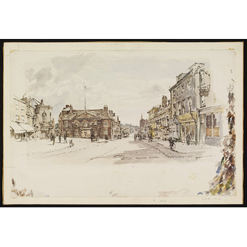 Watercolour - High Street and Rutland Arms, Newmarket; Recording Britain