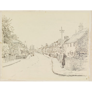 Drawing - Entrance to Ham Street from Ham Common; Ham Street, Ham Common - the Beginning; Recording Britain