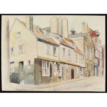 Watercolour - Tudor Houses, Church Street, Whitby; Recording Britain