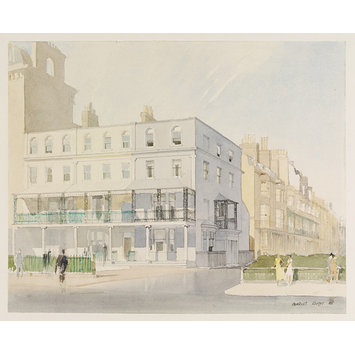 Watercolour - Regency Brighton; houses on Marine Parade and Sussex Square; Recording Britain