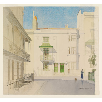 Watercolour - Regency Brighton: Houses in Russell Square, Sussex; Recording Britain