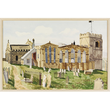 Watercolour - St. Mary's, Whitby - Exterior; Exterior of St. Mary's Church, Whitby; Recording Britain