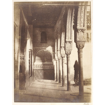 Photograph - Court of the Myrtles: north gallery and gate-arch of the west entrance. Lateral window of the Sala de la Barca