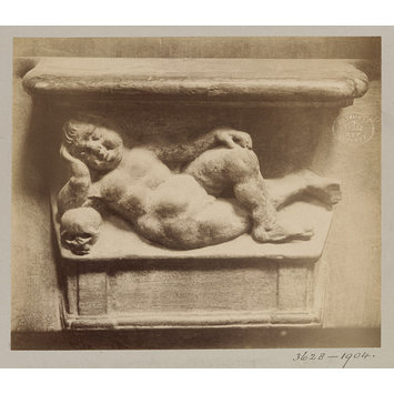 Photograph - Miserere Seat (Child and skull), XVI Century', Paris, France; Old Paris
