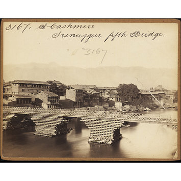 Photograph - Cashmere.  Srinuggur fifth Bridge