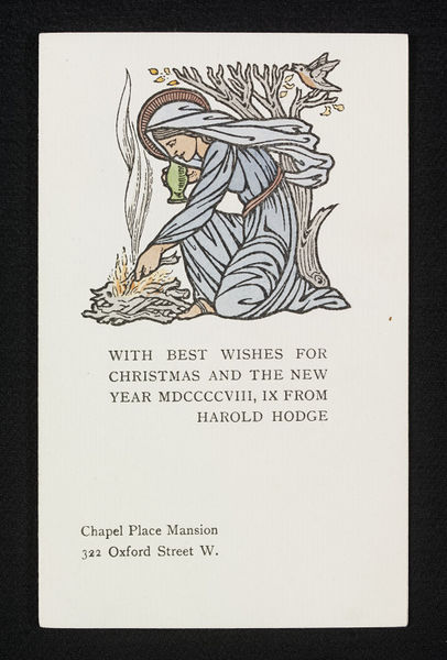Christmas card, designed by Selwyn Image for Herbert Hodge, ca. 1900