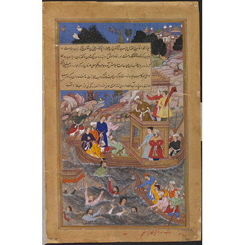 Painting - Khwajah Mu'azzam is Thrown in the River Jamuna on Akbar's Orders