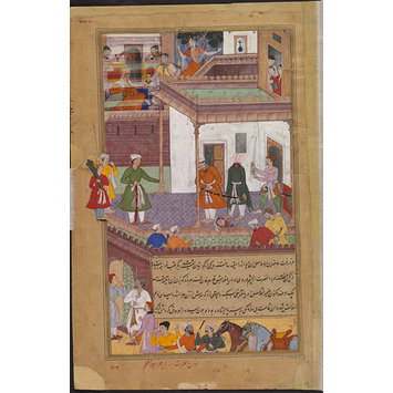 Painting - Qutlaq Khan killing a treacherous Gujarati servant in Khwaja Muazzam's house
