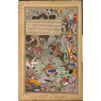 Painting - Akbar Slays a Tigress that Attacked the Royal Entourage