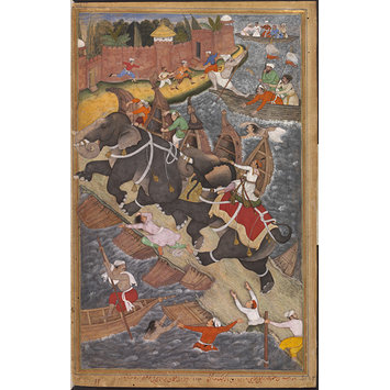 Painting - Akbar's adventure with the elephant Hawa'i in 1561