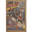 Akbar's adventure with the elephant Hawa'i in 1561 (Painting)