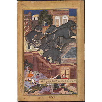 Painting - Captured Elephants Being Driven into the Fort of Bayanwan