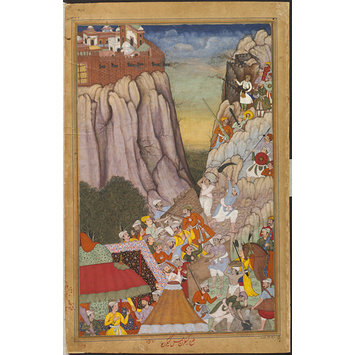 Painting - Akbar directing the attack against Rai Surjan Hada at Ranthambhor Fort