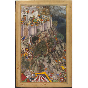 Painting - Akbar's forces besieging Rai Surjan Hada's fort of Ranthambhor