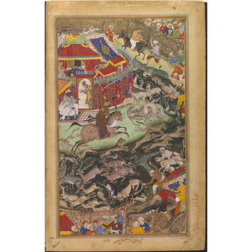 Painting - Akbar Hunts Near Lahore and Hamid Bakari is Punished by Having his Head Shaved and Being Mounted on an Ass