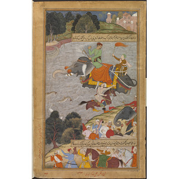 Painting - Akbar Crosses the Ganges on an Elephant