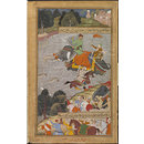 Akbar Crosses the Ganges on an Elephant (Painting)