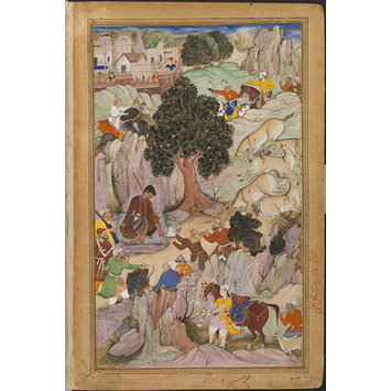 Painting - Akbar lost in the desert while hunting wild asses