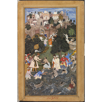 Painting - Akbar witnesses an extraordinary display of skill in catching fish