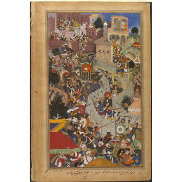 Painting - Akbar shoots Jaimal at the siege of Chitor, 1568